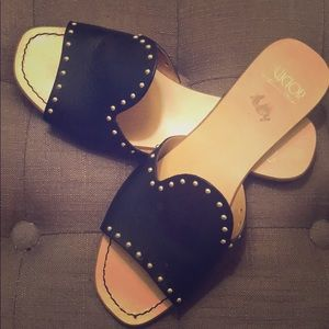 Leather studded flats!